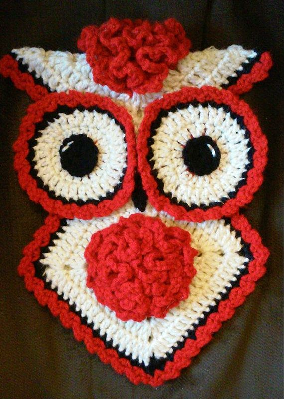 Crochet January Carnation Owl Potholder Pattern Only | Buhos ...