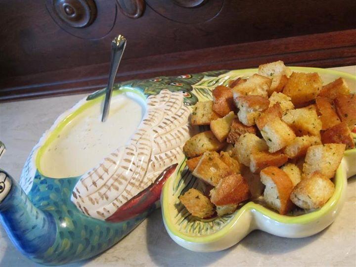 Flank Steak w/homemade Honey Mustard and homemade croutons.