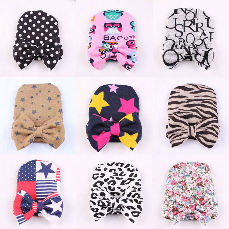 ea2fc120690 Cute Newborn Baby Infant Girl Toddler Printing Bowknot Hospital Cap Beanie  Hat  UnbrandedGeneric