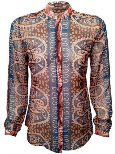 526f200c93d Дамска риза-туника с дълъг ръкав от шифон - червено и синьо ...