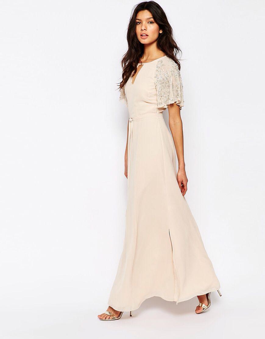 River Island Embellished Sleeve Maxi Dress At Asos Com Kurze Abendkleider Brautjungfernkleid Asos Mode