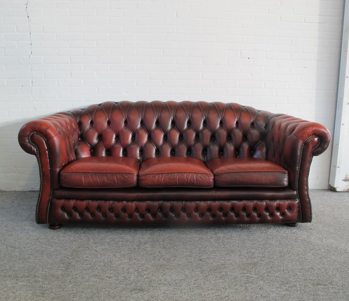 For Sale Original English Chesterfield Sofa In Oxblood Red