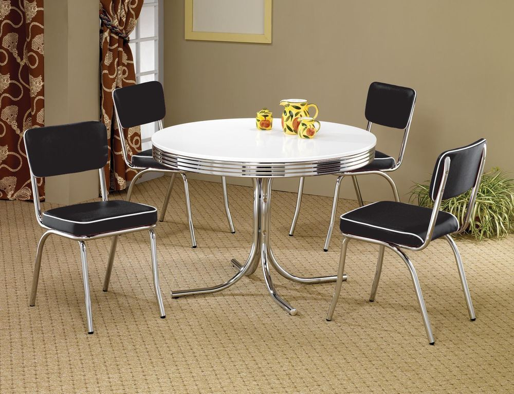 50 S Diner Style Retro Dining Set Black Chrome Chairs White Round Top Table