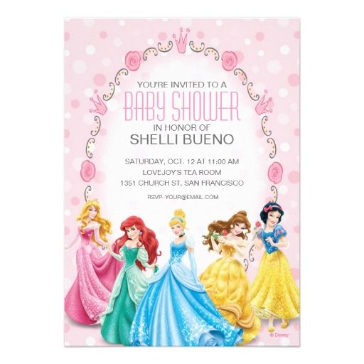 Disney Princess Its a Girl Baby Shower Custom Announcements Baby