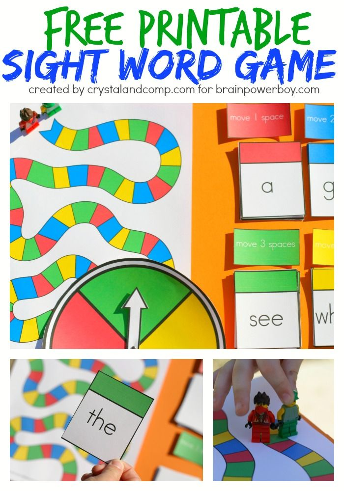 Free Printable Sight Word Game | Game pieces, Word games and Boys