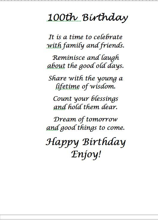 Poem 100th Birthday Card Old Cards Sayings Verses