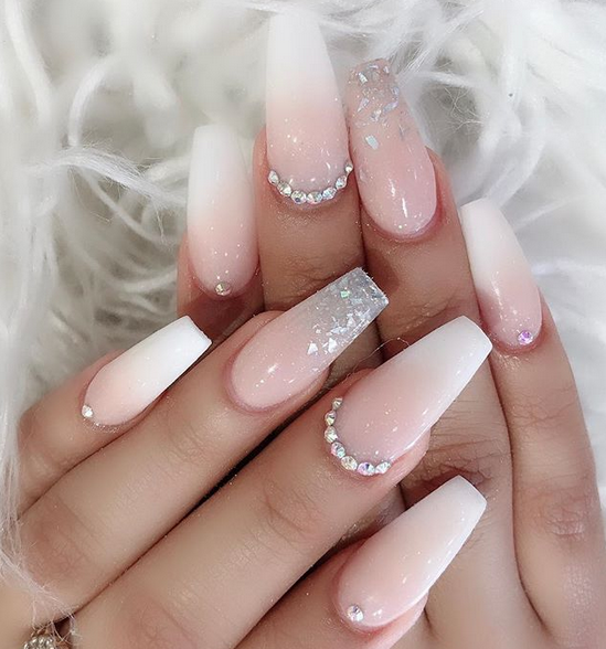 50 Chic Ombre Acrylic Coffin Nails Design In 2019 Nail Art Connect Gem Nails Pretty Acrylic Nails Rhinestone Nails