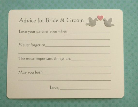 Marriage Bridal Advice Wish Cards