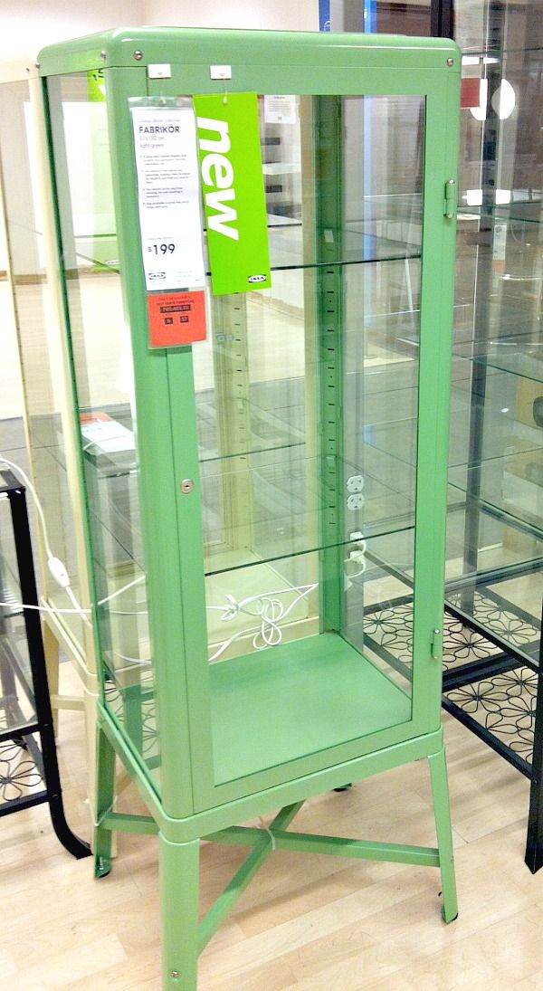 Ikea - fabrikor - glass -door cabinet $179 (black, mint, cream ...