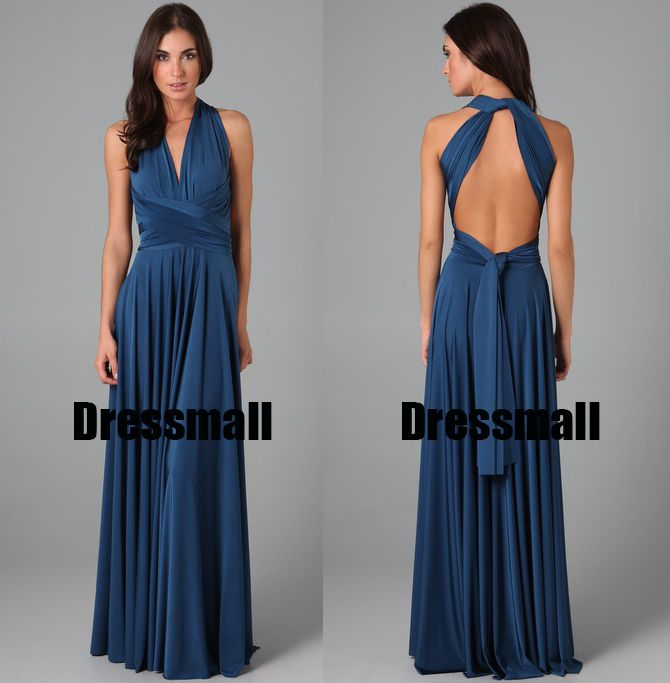 2015 Navy Blue Infinity wrap styles vestidos de festa vestido longo long convertible custom made party bridesmaid dresses