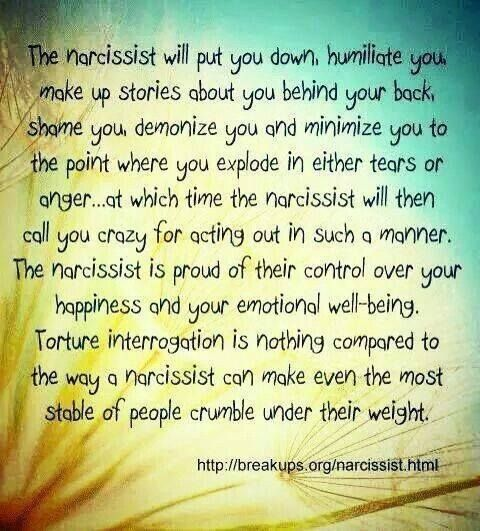 The narcissist will put you down, humiliate you, make up sto