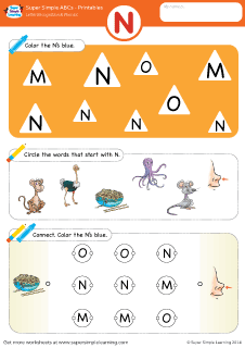 uppercase letter n alphabet worksheet from super simple learning preschool phonics. Black Bedroom Furniture Sets. Home Design Ideas