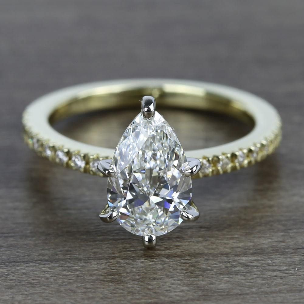 carat pear petite pave diamond engagement ring wedding rings