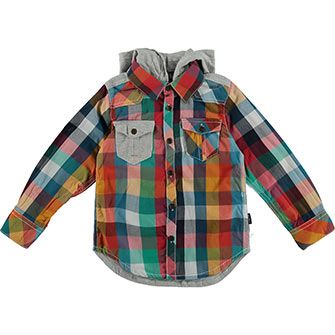 Kanz Multicoloured Hooded Check Shirt