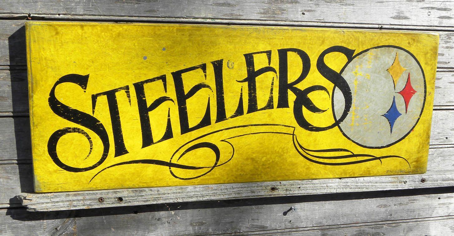 Pittsburgh Steeler Sign, original, hand painted, faux vintage,wall ...