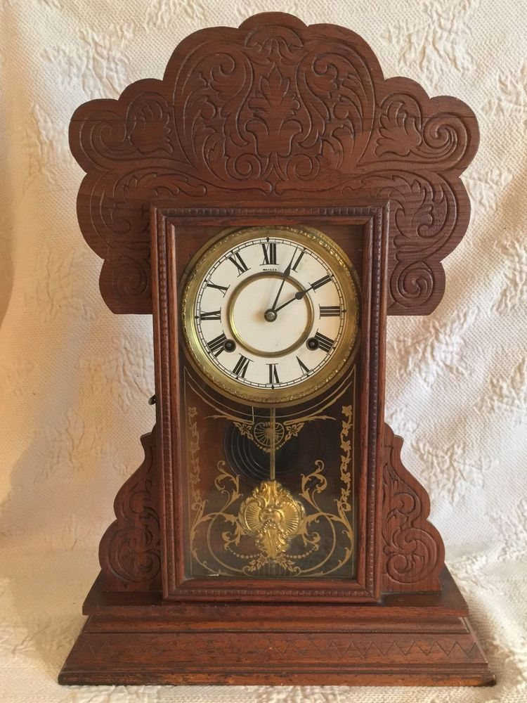 Wooden Kitchen Clock Renovations On A Budget Antique Oak Waterbury Gingerbread Henshaw Model 8 Day 1906