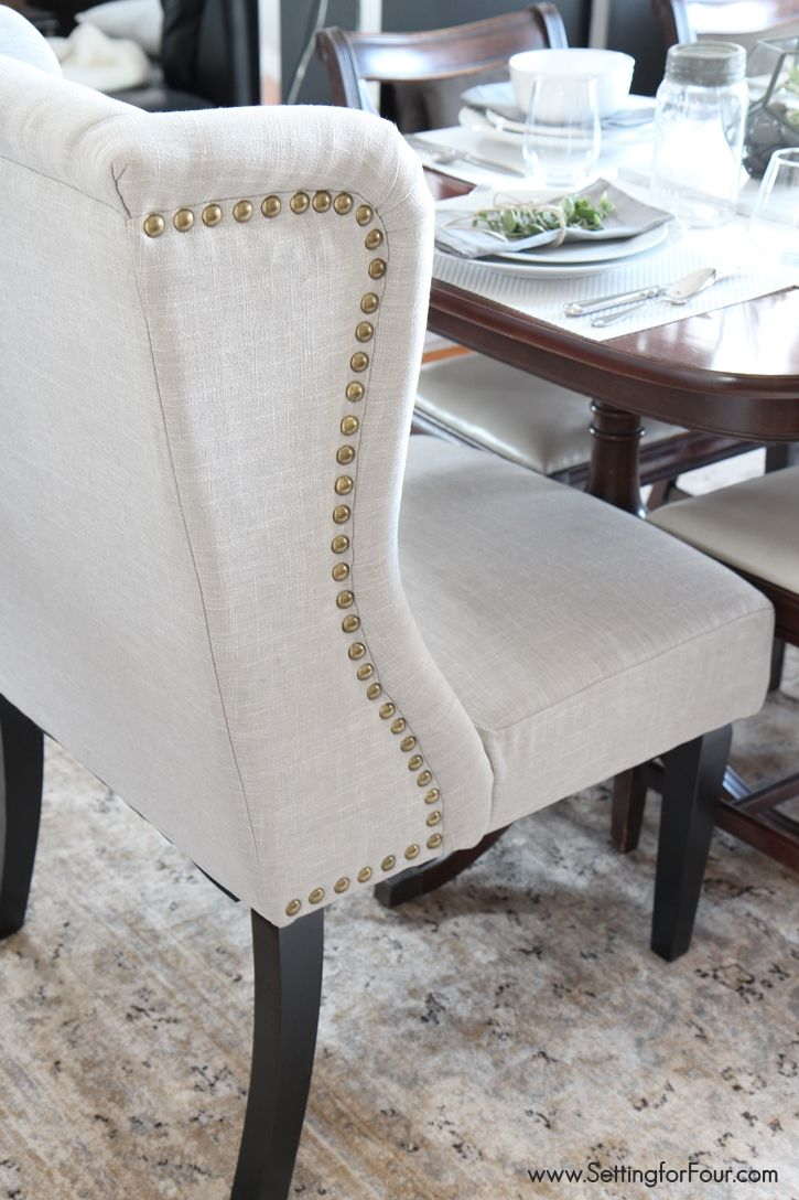 majestic looking gray upholstered dining chairs. Dining Room Update  Setting for Four Wingback chairs and Upholstery