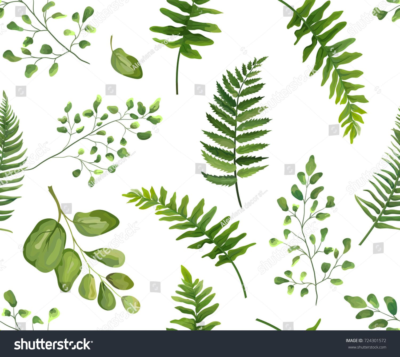 Seamless greenery green leaves botanical, rustic pattern ...