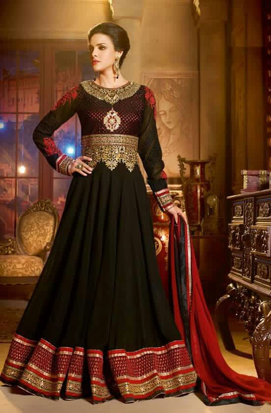 7b738fd44c7 Adorn your beautiful looks dressed up in this black georgette embroidered  floor length Anarkali dress. The lace