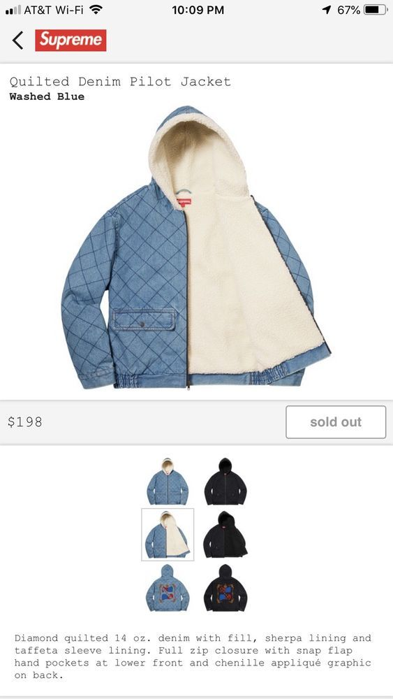 Supreme Quilted Denim Pilot Jacket Blue with Hoodie!! SIZE ...