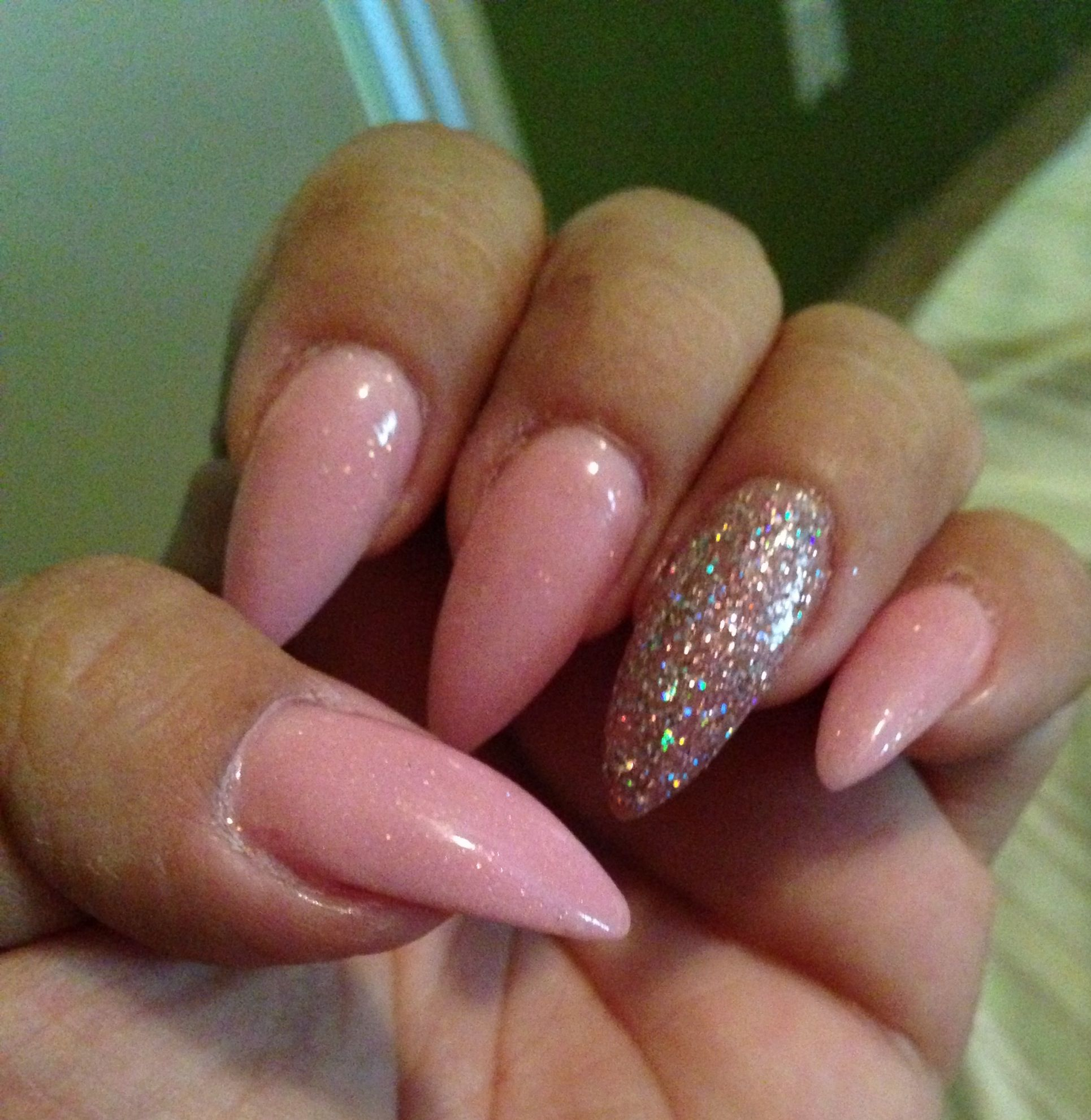 Pink and silver nails - Pink N Glitter Stiletto Nails