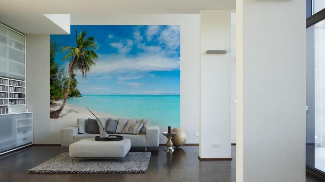 Tapeten im Wohnzimmer; Livingwalls Fototapete «Palme am Strand» (L