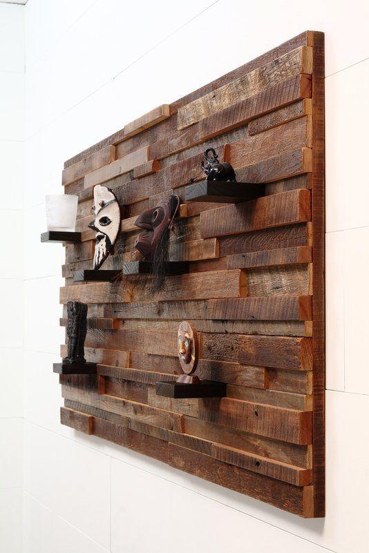 Custom Made Wood Wall Art With Wood Shelves 60 X30 X5 Made Of