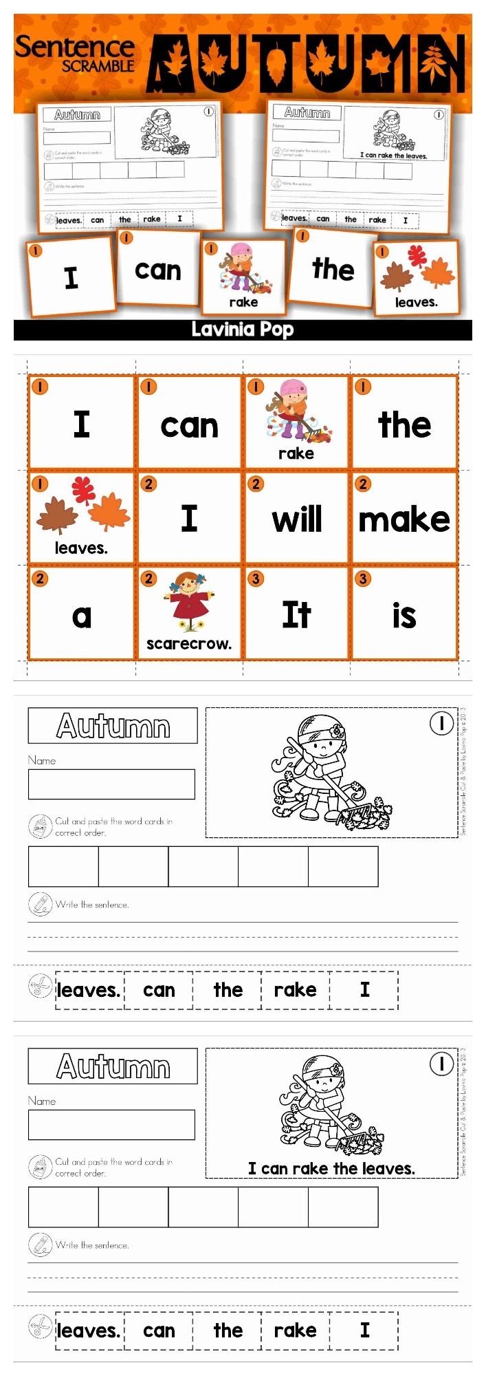 Free Worksheet Cut And Paste Sentence Worksheets autumn fall sentence scramble with cut and paste worksheets theme includes pocket chart center cards