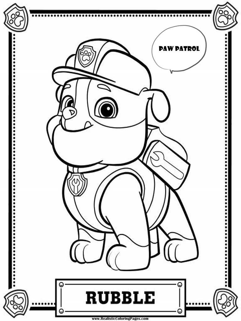 Paw Patrol Coloring Pages Rubble Realistic Coloring Pages Paw