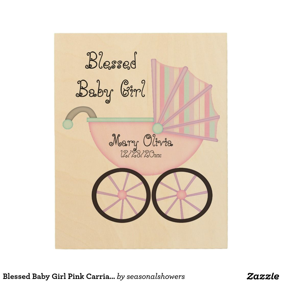 Blessed Baby Girl Pink Carriage Wood Wall Art | Cute Girly Girl Baby ...