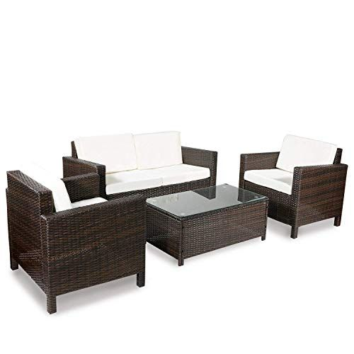 Swell Merax 4 Piece Rattan Sectional Sofa Couch Loveseat Chairs Inzonedesignstudio Interior Chair Design Inzonedesignstudiocom