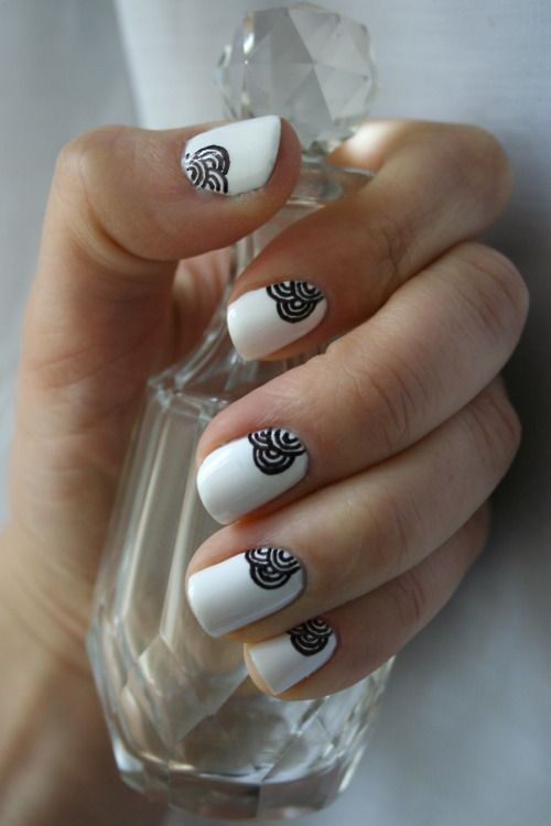 Beautiful white nails with black line-work detail. #nail #nails #nailart