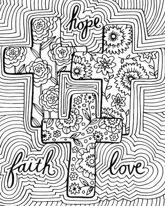 hope faith love coloring canvas canvas on demand
