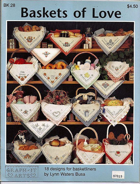 Baskets of Love / Counted Cross Stitch Pattern Leaflet BK 28 by grammysyarngarden on Etsy