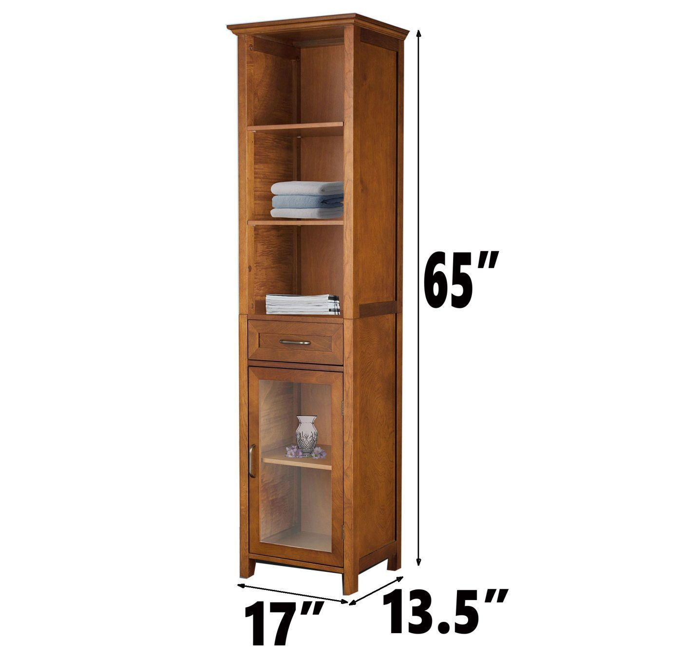 Oak Finish Linen Tower Bathroom Towel Storage Cabinet Tall Wooden Organizer