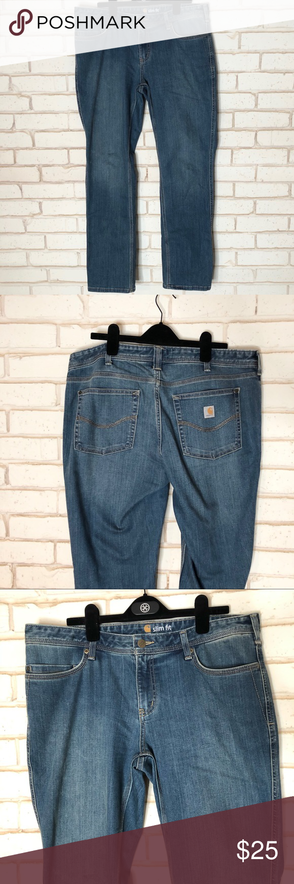 Carhartt Womens Slim Fit Jeans Sz 14 EUC Durable Carhartt Jeans. Sz 14 Slim Fit Great Jeans! Mid rise  Waist 19 Rise 9 Inseam 31 Carhartt Jeans #carharttwomen