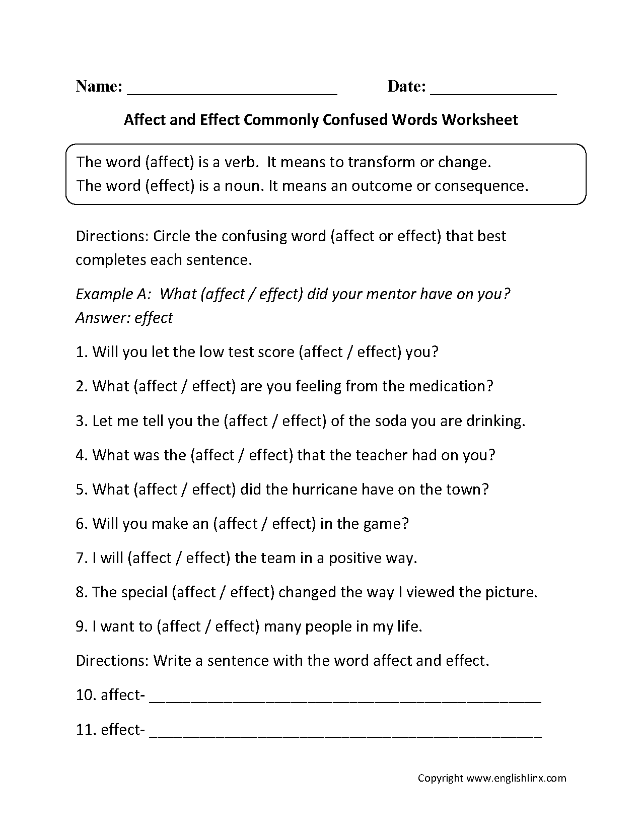Affect And Effect Commonly Confused Words Worksheets