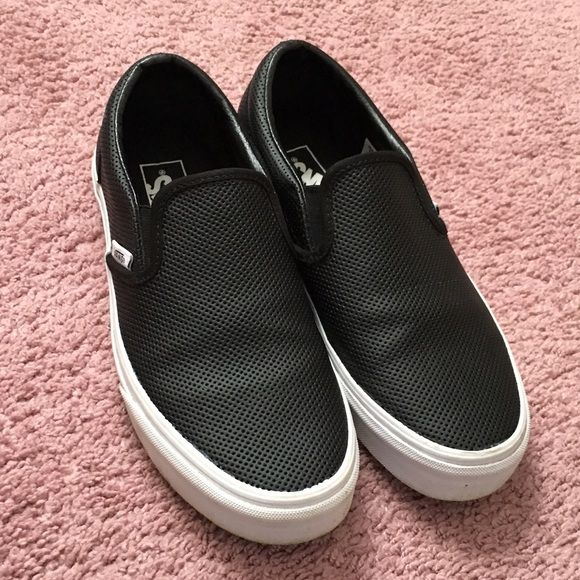 black leather vans mens
