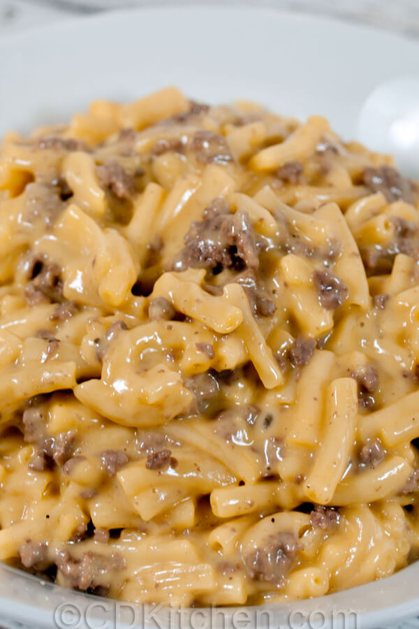 Easy Cheesy Beef Mac A Quick Way To Turn A Box Of Macaroni And Cheese Into Dinner Cdkitc In 2020 Beef Recipes Easy Ground Beef Recipes Easy Beef Recipes For Dinner