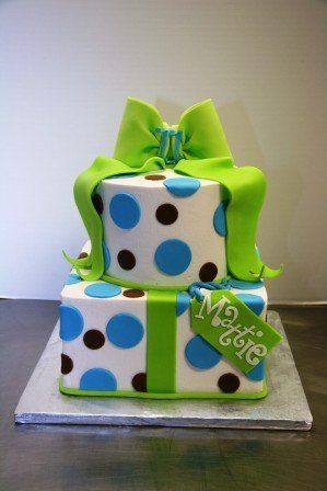 Round And Square 2 Tier Cake In Lime Green Blue Black With A