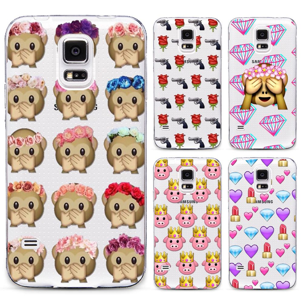 For Samsung Galaxy S5 Clear Phone Case Cover Funny Girl With Facebook Emoji Of Diamond And Carton Soft Phone Case China Mainl Galaxy S5 Clear Phone Case Emoji