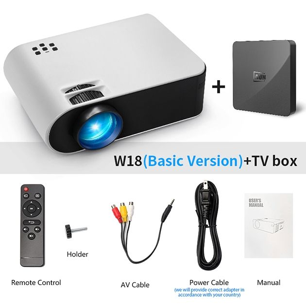 Home Cinema MINI Projector W18C, 2800 Lumens, 854*480P, Wireless Sync Display For Phone, Portable Home Cinema for Full HD 1080P Beamer