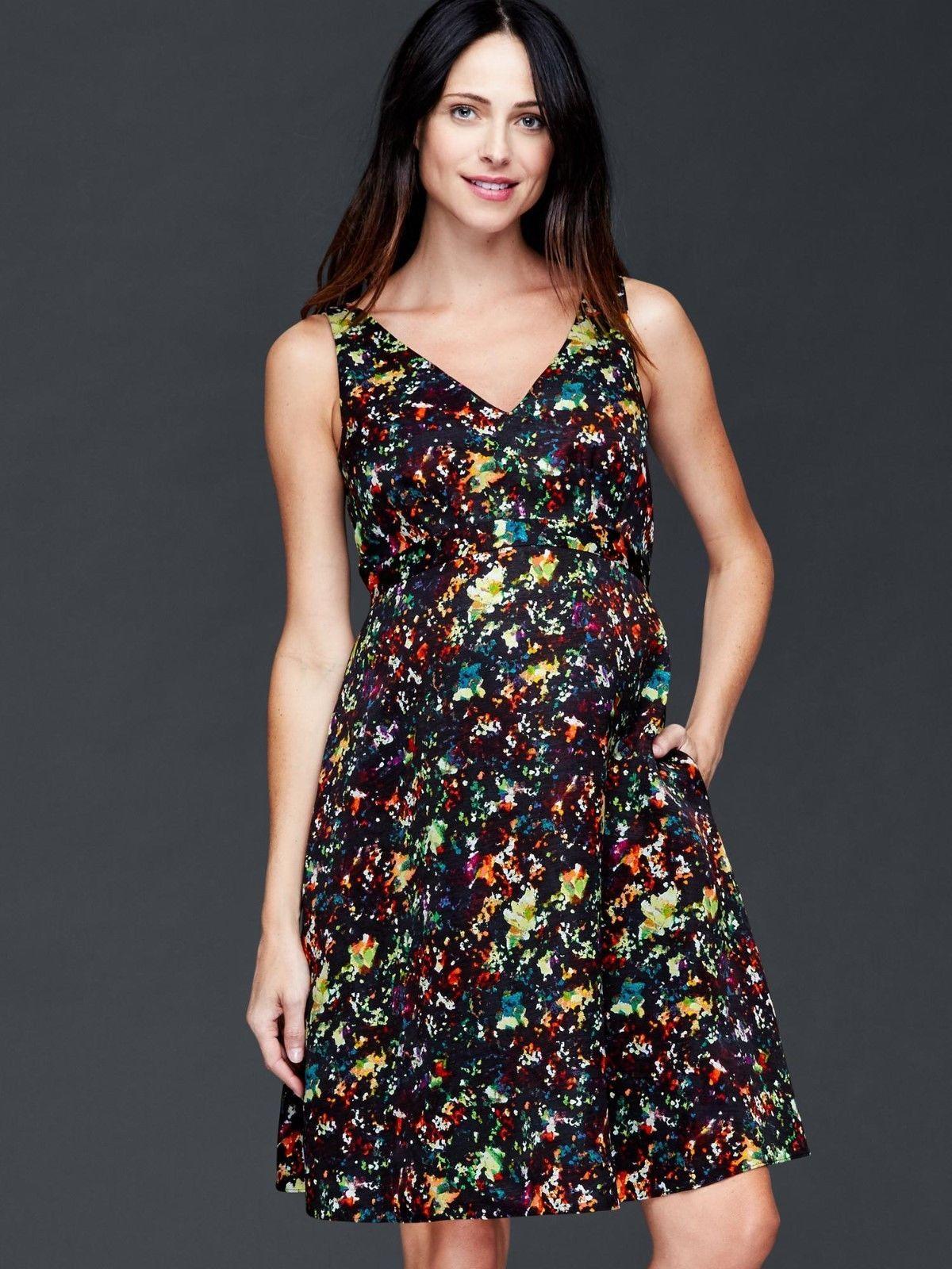 Gap maternity double vneck sleeveless confetti dress