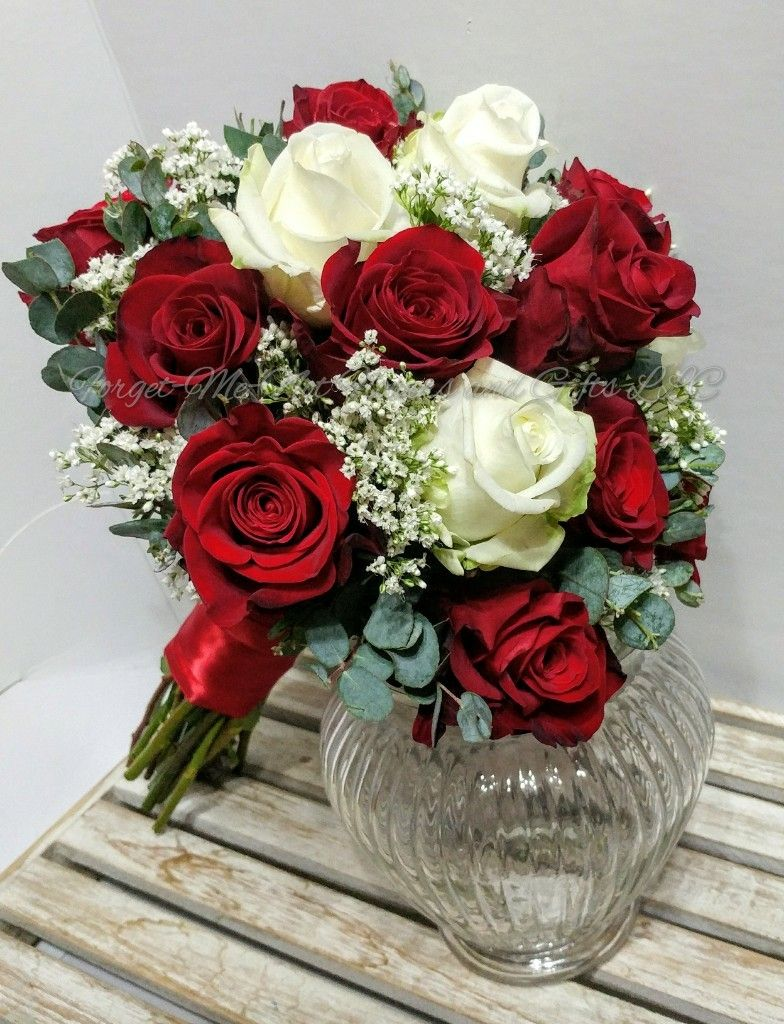Red And White Rose Bridal Bouquet By Forget Me Not Flowers