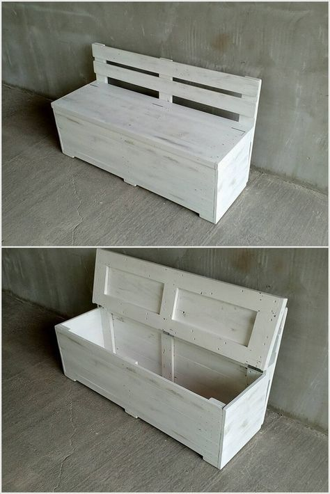 Wood Pallet Bench With Storage Wooden Pallet Projects Wood Pallet Projects Wooden Pallet Crafts