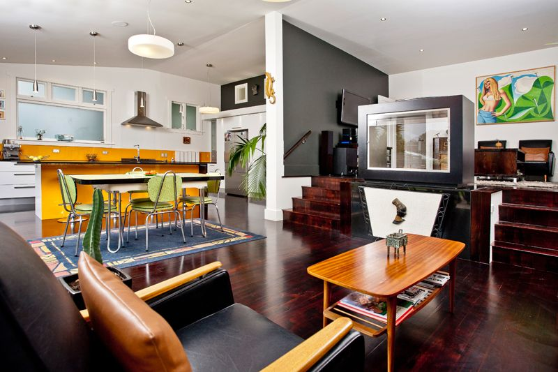 Retro furnishings for the living area of the Point Chevalier renovated  Bungalow. Character Home restoration