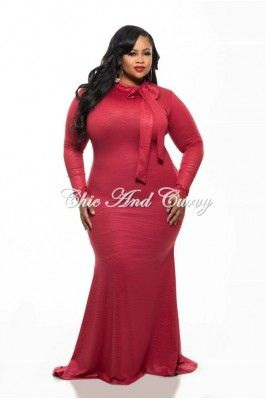 New Plus Size Long Sleeve BodyCon Dress w/ Accent Neck-Tie and Mermaid Bottom in Textured Red 1x 2x 3x