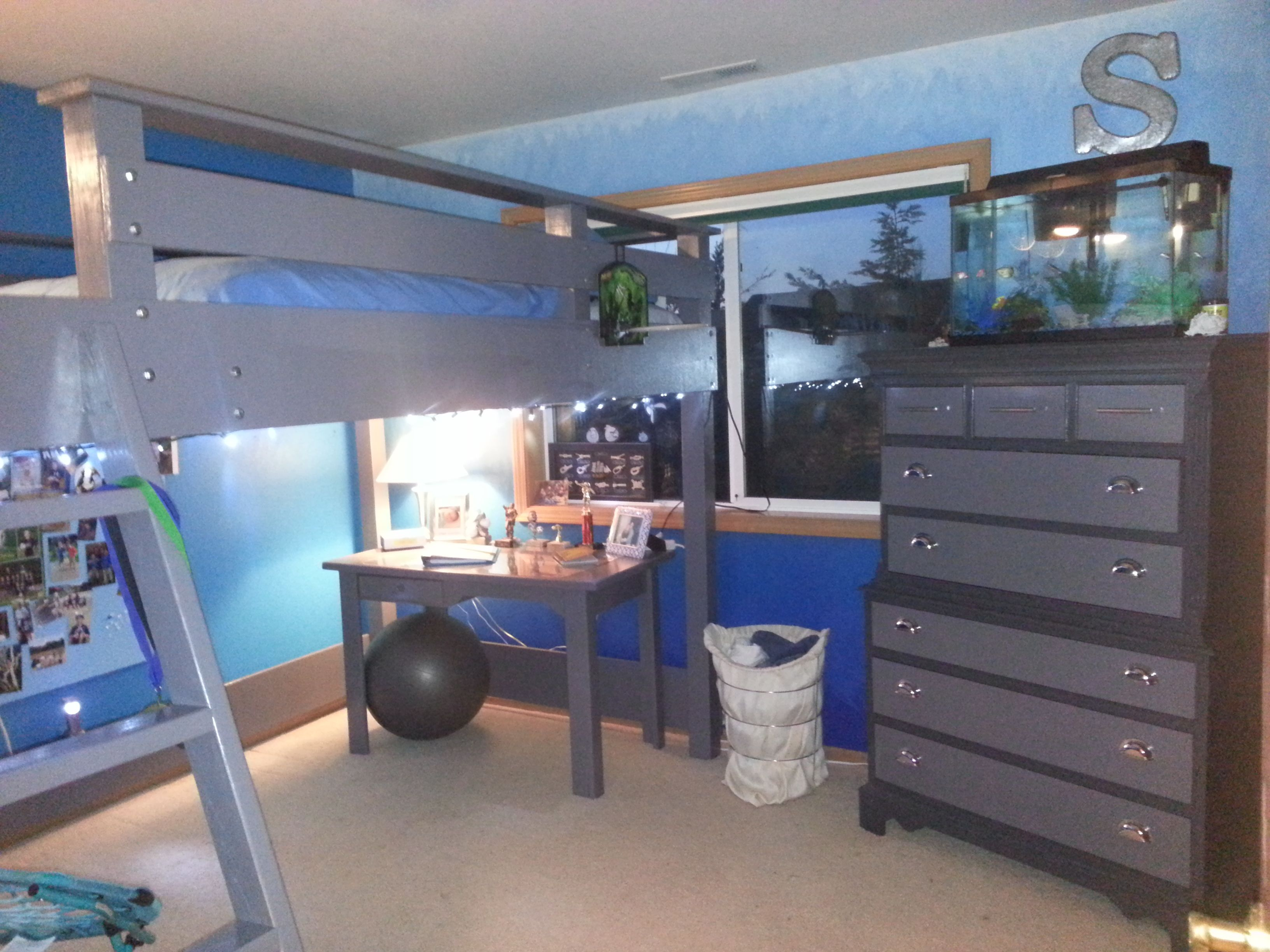 Giant Loft Bed Boys Bedroom hangout Gray and Blue hombre ocean blue walls  milk paint two tone dresser. Giant Loft Bed 10 x5  Boys Bedroom hangout Gray and Blue hombre
