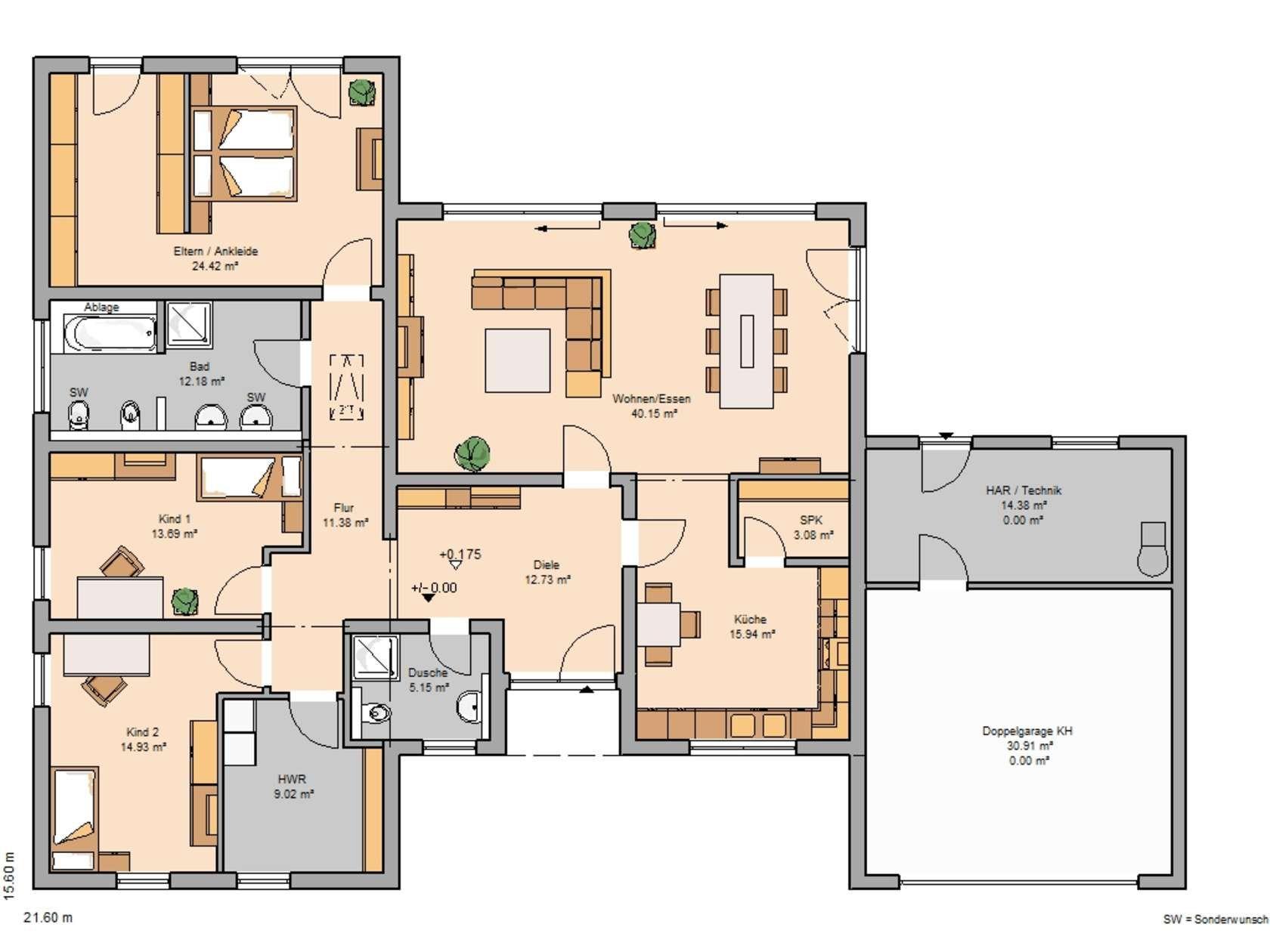 Kern Haus Bungalow Trio Grundriss Erdgeschoss Grundrisse