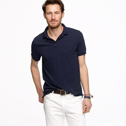 Slub cotton polo/medium vintage navy or white. Not sure what 'hillside poppy' is but could cool. JCrew